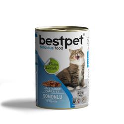 Best Pet - Bestpet Soslu Parça Etli Somonlu Konserve Yetişkin Kedi Maması 415 Gr.