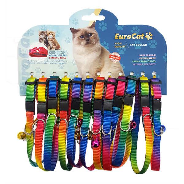 EUROCAT - EuroCat Gökkuşağı Renkli Çıngıraklı Kedi Boyun Tasması 1 Adet