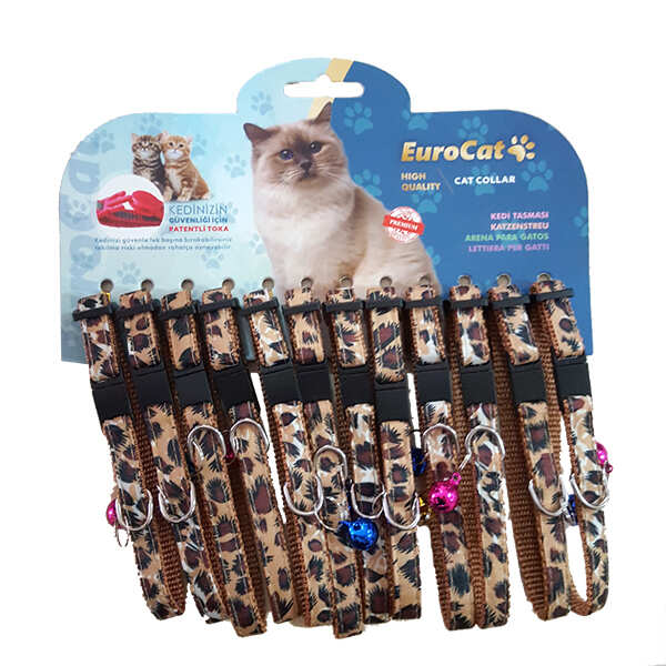EUROCAT - EuroCat Leopar Desenli Çıngıraklı Kedi Boyun Tasması 1 Adet
