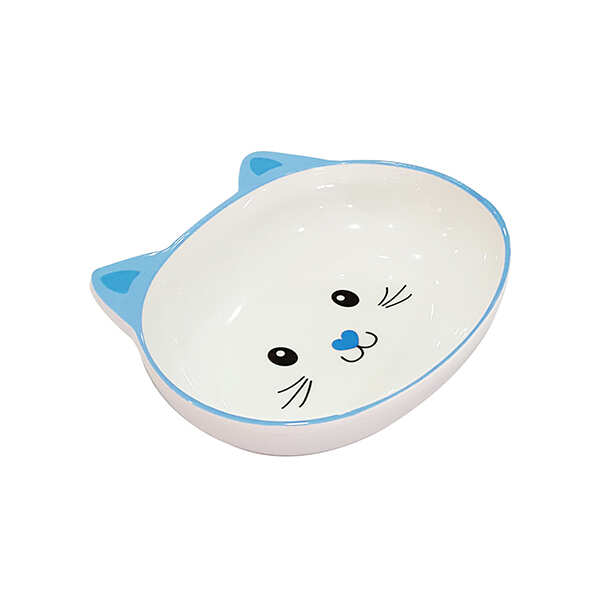 PET LOVES - Melamin Mama Kabı Kedi Suratı Şeklinde Mavi 300 Ml