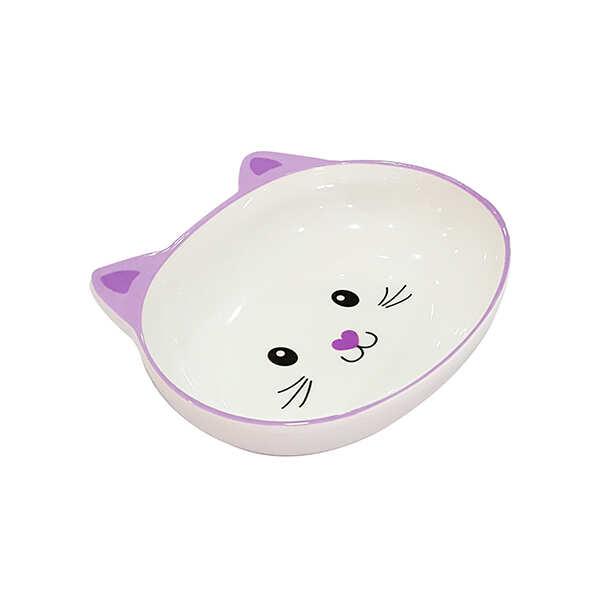 PET LOVES - Melamin Mama Kabı Kedi Suratı Şeklinde Mor 300 Ml