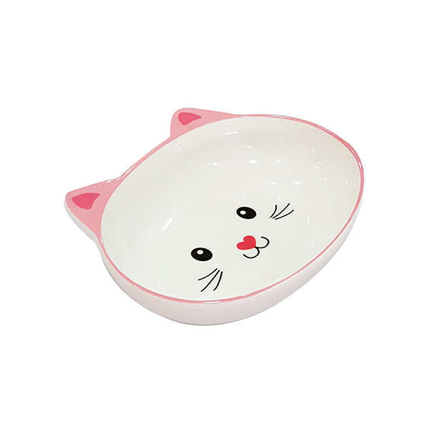 PET LOVES - Melamin Mama Kabı Kedi Suratı Şeklinde Pembe 300Ml
