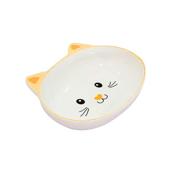 PET LOVES - Melamin Mama Kabı Kedi Suratı Şeklinde Sarı 300 Ml