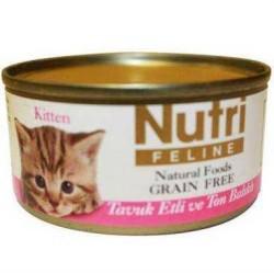 Nutri Feline - Nutri Feline Tahılsız Tavuk Etli Ton Balıklı Yavru Kedi Konservesi 80 Gr.