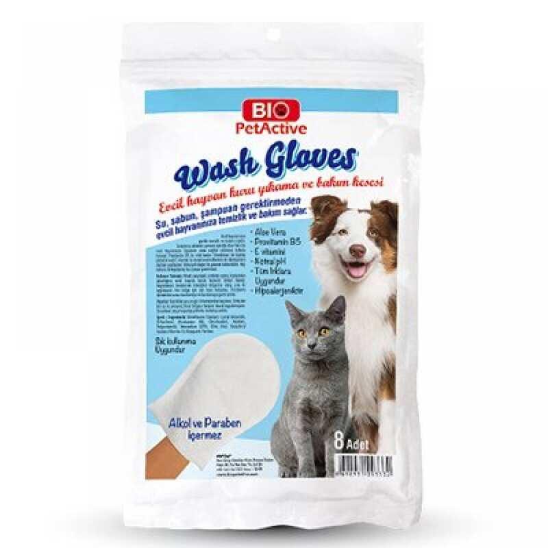 Bio Pet Active - Pet Active Wash Gloves Evcil Hayvan Kuru Yıkama Bakım Kesesi 8 Adet