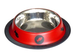 Tommy - Tommy Kedi Köpek Çelik Mama Kabı Kırmızı 16 Oz (1)